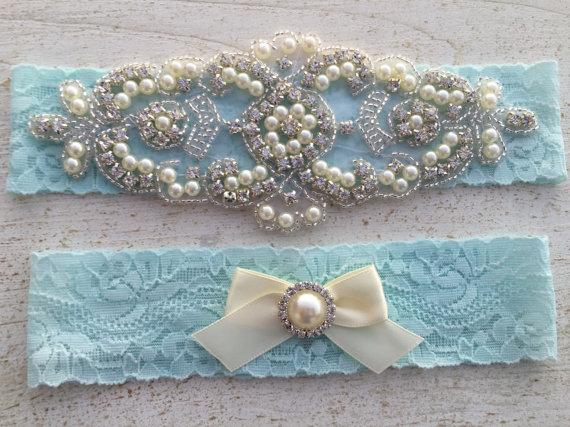 Hochzeit - Wedding Garter SET / Any Lace Color / Bridal Garter / Pearl and Rhinestone Wedding Garter / Rhinestone Garter Belt