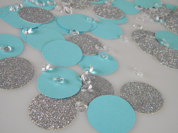 Silver Glitter Aqua Turquoise Blue Confetti Decorations With Optional Faux Diamonds
