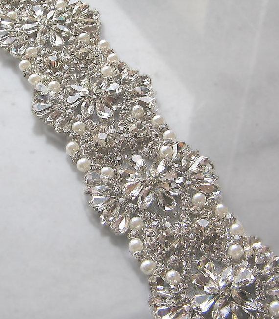 """Wedding - Crystal Rhinestone Trim with Pearls, Beaded Rhinestone Bridal Applique for Wedding Gown or Sash, 24"""""""