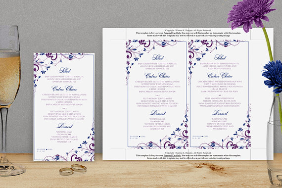 Mariage - Wedding Menu Card Template - DOWNLOAD Instantly - EDITABLE TEXT - Chic Bouquet (Purple & Royal Blue) 4 x 7 - Microsoft Word Format