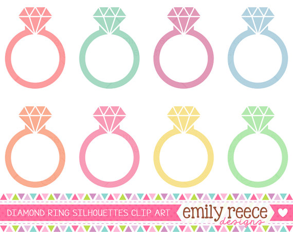 Mariage - DOLLAR SALE Diamond Ring Engagement Silhouette Diamond Cute Clip Art - Commercial Use - Scrapbooking Invitations Cards - Instant Download