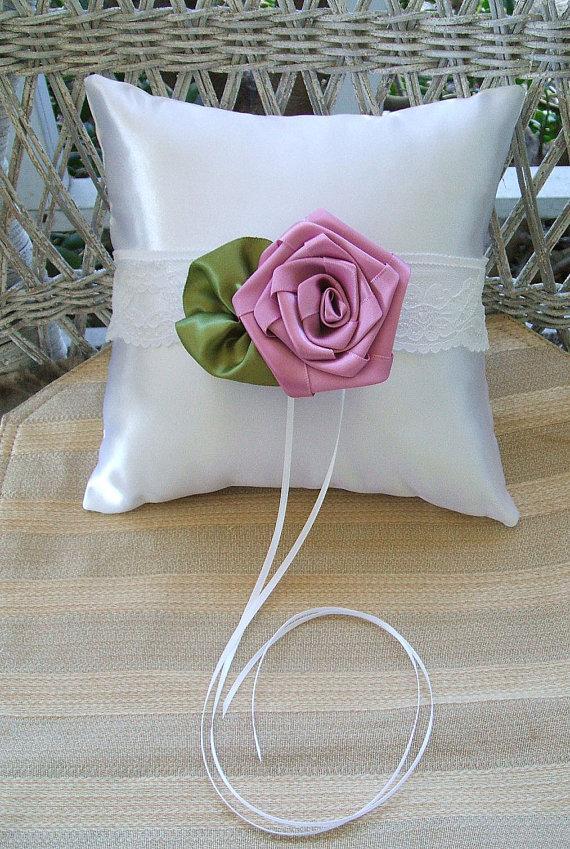 """Свадьба - Wedding  Ring Bearer Pillow in White & Dusty Rose  Handmade """"ROSE"""""""