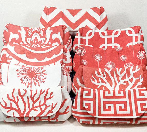 Wedding - Wedding Clutches Bridesmaid Clutches Bridal Party Gifts Choose Your Fabric Coral Set of 8