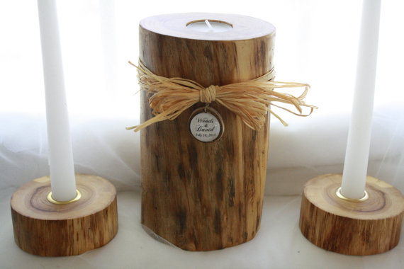 Свадьба - Rustic Wood Wedding Unity Candle-Personalized