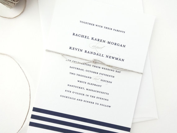 Свадьба - Rachel Nautical Wedding Invitation Sample / Striped Wedding Invitations / Navy Wedding Invitations / Nautical Wedding Invite / Blue Invite