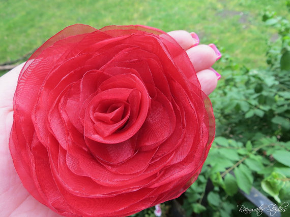 Mariage - Wedding Hair Flower, Red Organza Double Rose Hair Flower, Bridal Accessory