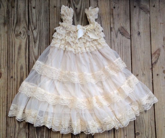 Ivory Lace Flower Girl Dress Lace Dress Sleeveless Wedding ...
