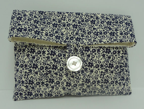 Navy Clutch Bridemaid Bag In Navy And Cream Floral Navy Blue Wedding - READY TO SHIP #2224076 ...