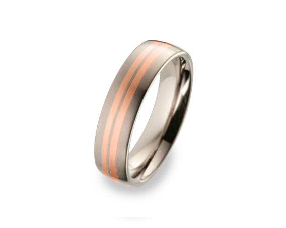 Mariage - Titanium 14K Gold Wedding Band, Men Titanium Rings, Mens Wedding Band, Titanium Wedding, Titanium Engagement Ring, Wedding Bands, Man Women