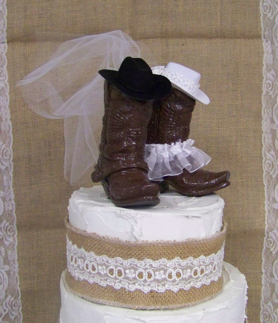 Wedding - Western Cake Topper-New, Larger Boots, His and Her Western Cowboy Boots-Wedding Cake Topper-Barn Wedding, NEW Larger Boots
