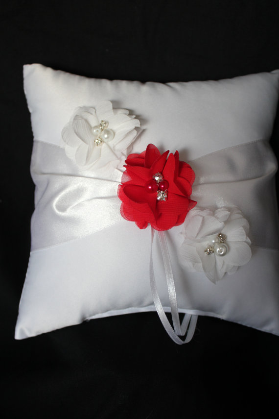 Wedding - Ivory or White Ring Bearer Pillow Red/White Chiffon Flowers Accented with Rhinestone and Pearls- Custom Colors Available