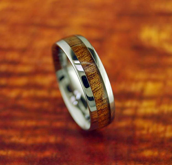 Ring Tungsten Carbide Koa Wood 6MM