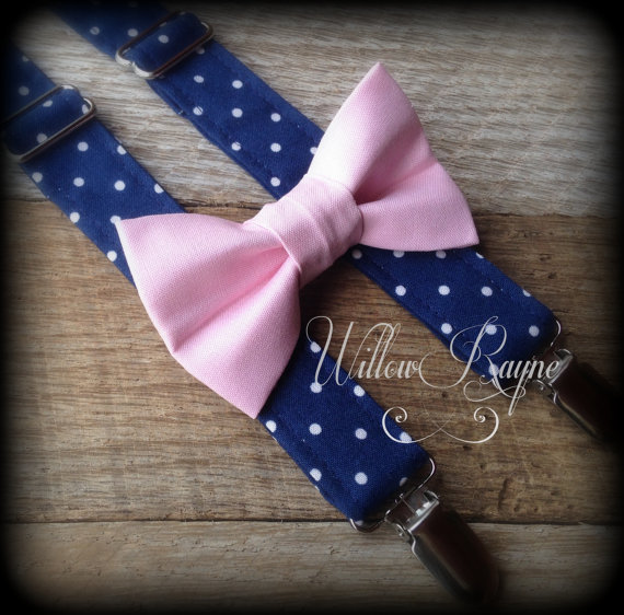ba8828553 Boys Navy and Pink Bow Tie and Suspenders - Baby Boy Polka Dot Suspenders -  Toddler Pink Bowtie - Photo Prop - Ring Bearer - Cake Smash