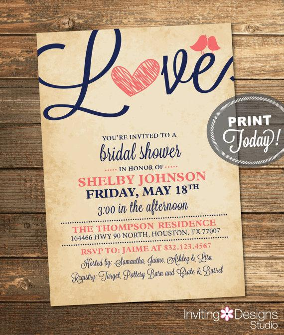 Bridal Shower Invitation, Love, Birds, Heart, Navy Blue, Coral, Rustic,  Printable File (Custom Order, INSTANT PROOF)