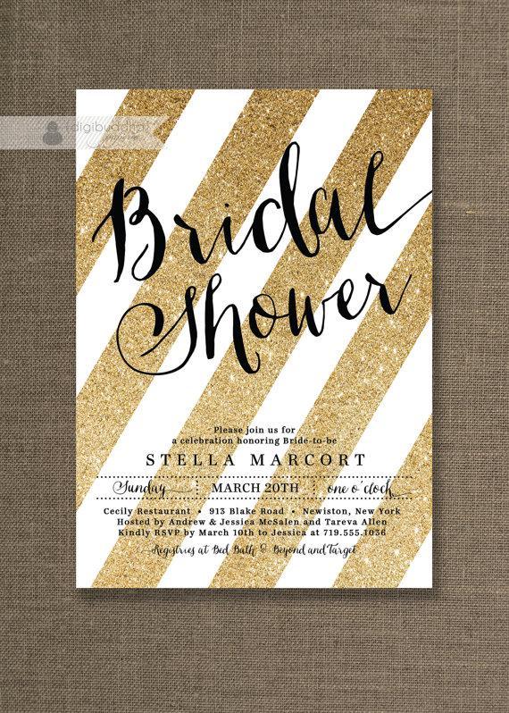 Wedding - Black & Gold Bridal Shower Invitation Glitter Stripes Metallic Sparkly Glam Modern FREE PRIORITY SHIPPING or DiY Printable - Stella Style