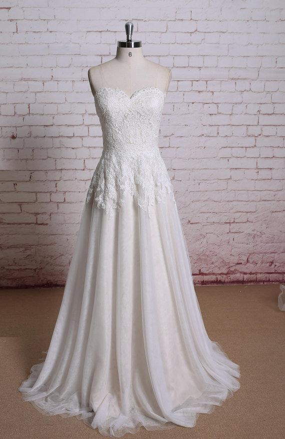 زفاف - Champagne Wedding dress,   Bridal gown,  Wedding gown, A-line wedding dress