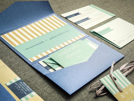 Hochzeit - Fall Wedding Invitations, Khaki, Mint & Sapphire, Nautical Invitations, Bat / Bar Mitzvah, Preppy Chic - Pocketfold, No Layers, v1 - DEPOSIT