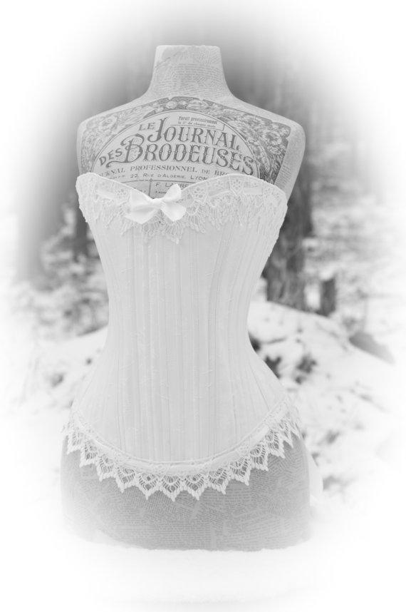 زفاف - White Wedding Lingerie- Romantic Corset , Steampunk, Victorian, Brocade Bodice