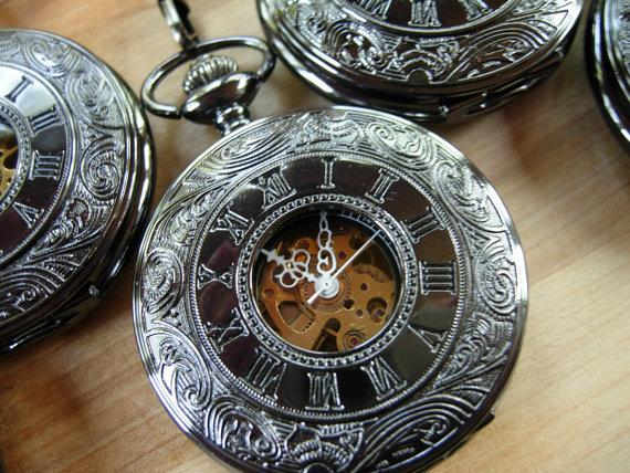 Свадьба - Pocket Watch with Chain Gunmetal Black Mechanical Copper Dial Groomsmen Gift Ships from Canada