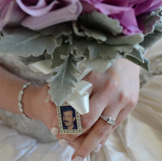 Свадьба - Wedding Bouquet Charm, Bridal keepsake, RECTANGLE, Personalized, custom photo or image