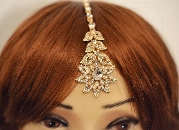 Gold Crystal Indian Matha Patti Tikka Head Chain Jewelry Bridal