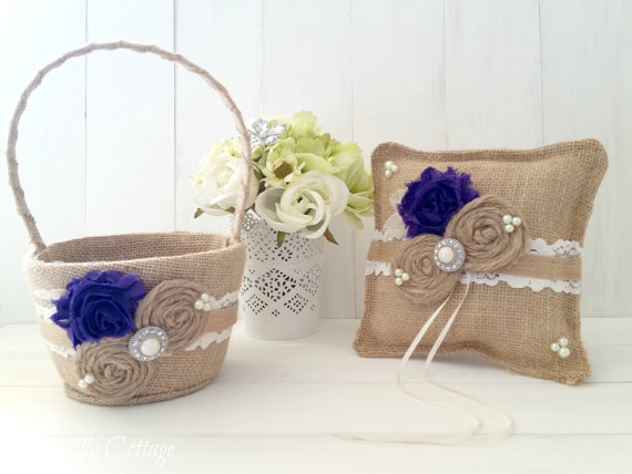 Basket Set Burlap Pillow Rustic Wedding Flower Basket Wedding Pillow