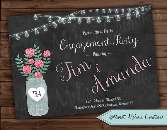 Mariage - Rustic Engagement Party Invitation- Mason Jar - Chalkboard Style -Strung Lights - Color - Black & White -Sweet Melissa Creations