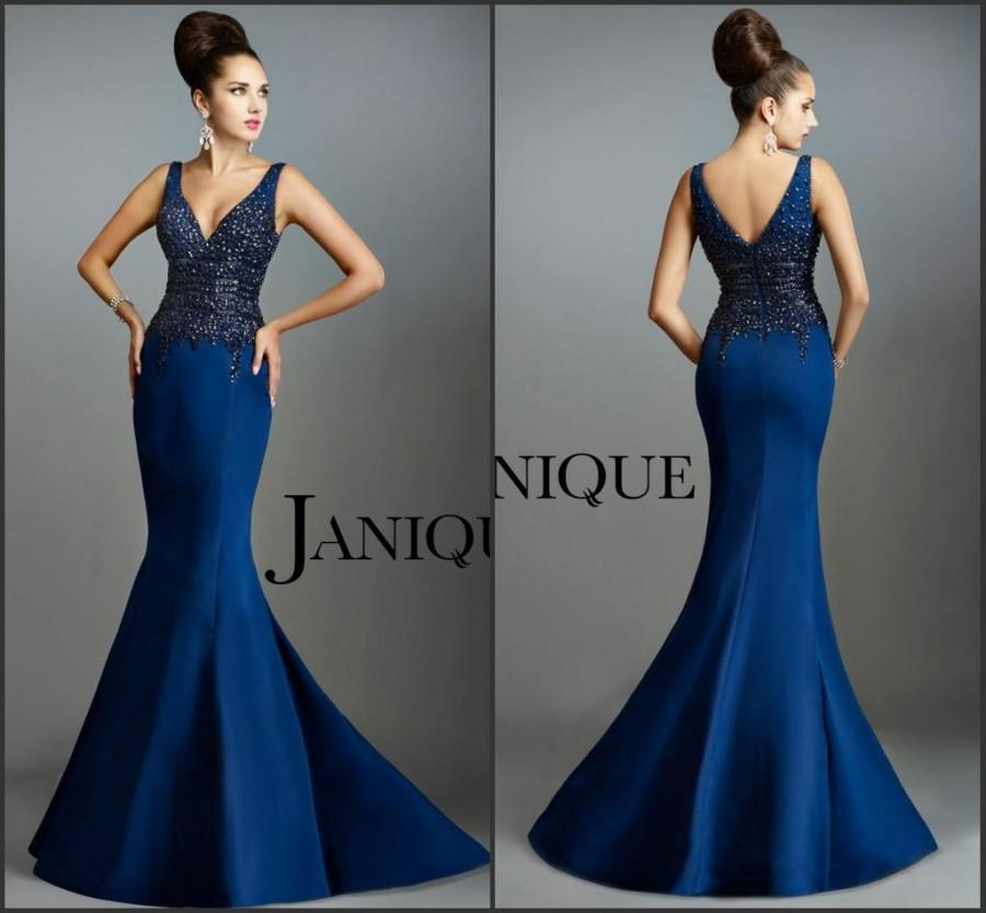 Hochzeit - New Arrival Mermaid Evening Dresses Blue Party Sheath Bodice Prom Dresses Heavy Beaded Crystal V-Neck Full Length Satin Gowns by Janique Online with $119.33/Piece on Hjklp88's Store