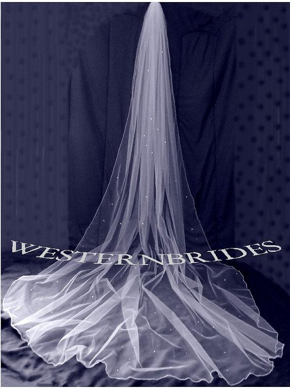 Hochzeit - White, ivory or Diamond white Bridal Wedding Cathedral veil with Swarovski crystals and pencil edge