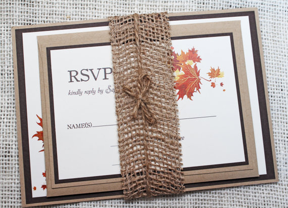 Mariage - Rustic Wedding Invitation, Rustic  Burlap Invitation, Barn, Country or Fall Wedding