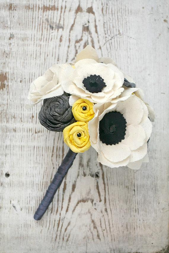 Свадьба - Customizable Small Fabric Anemone Grey and Yellow Alternative Heirloom Bouquet - Anemones,  Sola Wood, Yellow, Gray, Fabric Wedding Flowers