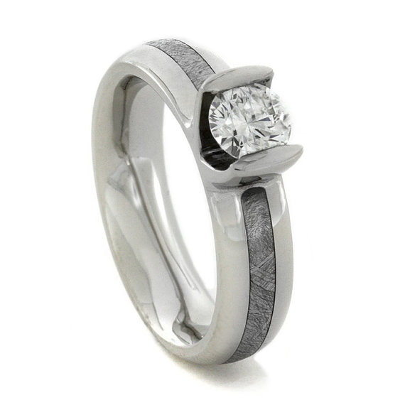 زفاف - Diamond Engagement Ring with Meteorite Inlay and Palladium Sleeve