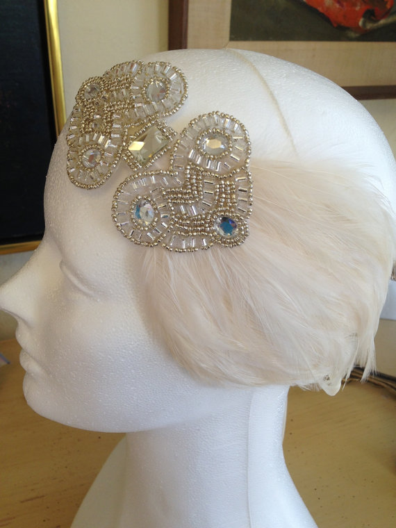Wedding - 1920s Headpiece Gatsby Headpiece 1920s Wedding Dress Headband Glamorous Ivory Flapper Headpiece Great Gatsby
