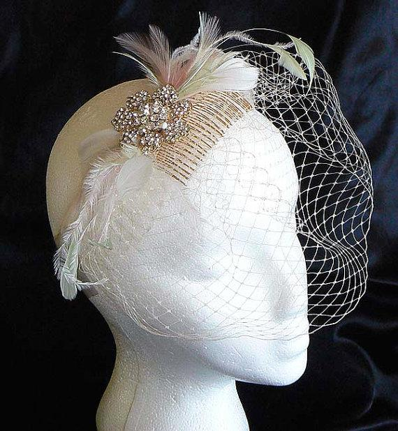 Mariage - champage bridal veil - Mint feather veil - Gold rhinestone veil