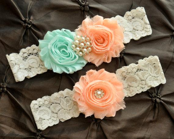 Mariage - Wedding Garter Belt, Bridal Garter Set - Ivory Lace Garter, Light Peach Wedding Garter, Seafoam Garter, Mint Garter, Peach Garter, POPULAR!