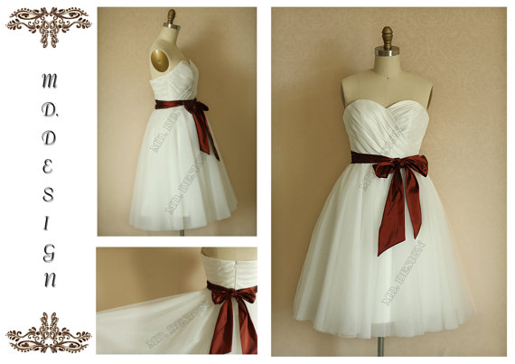 Mariage - Vintage Inspired Ivory Taffeta Tulle Wedding Dress/Bridesmaid Dress Knee Length Strapless Sweetheart with Plum Sash Belt