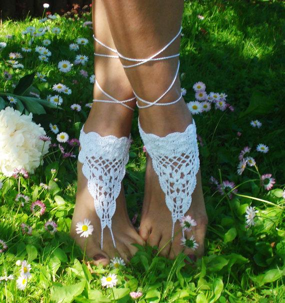 Свадьба - Crochet Barefoot Sandals,Beach Pool,Nude shoes,Foot jewelry,Wedding shoes,White sandles