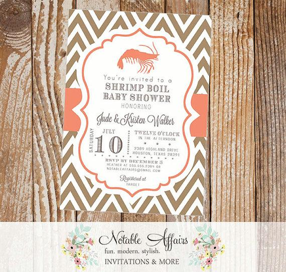 Wedding - Shrimp Boil Couples Shower Baby Shower Party Celebration Engagement Couples Shower Invitation - colors and wording can be changed