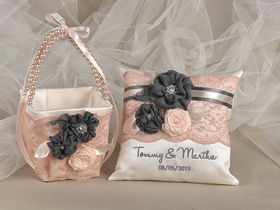 Flower Girl Basket Ring Bearer Pillow Set Bowl And Lace Embriodery NamesCustom Colors
