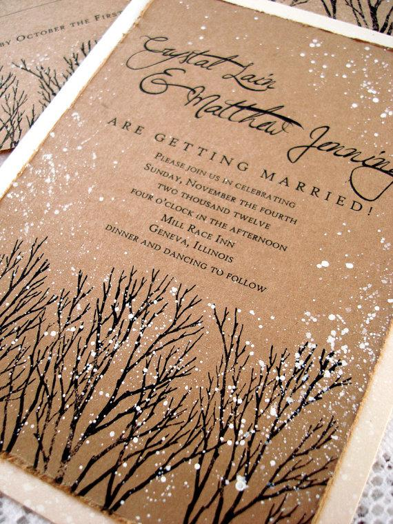 Mariage - Winter Wedding Invitation tree hand stamped and painted SAMPLE