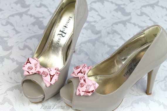 Mariage - Pink Bow Shoe Clips, Paris Bow Shoes Clip, Pink Clip on Shoe Bows, Pink Wedding Accessories