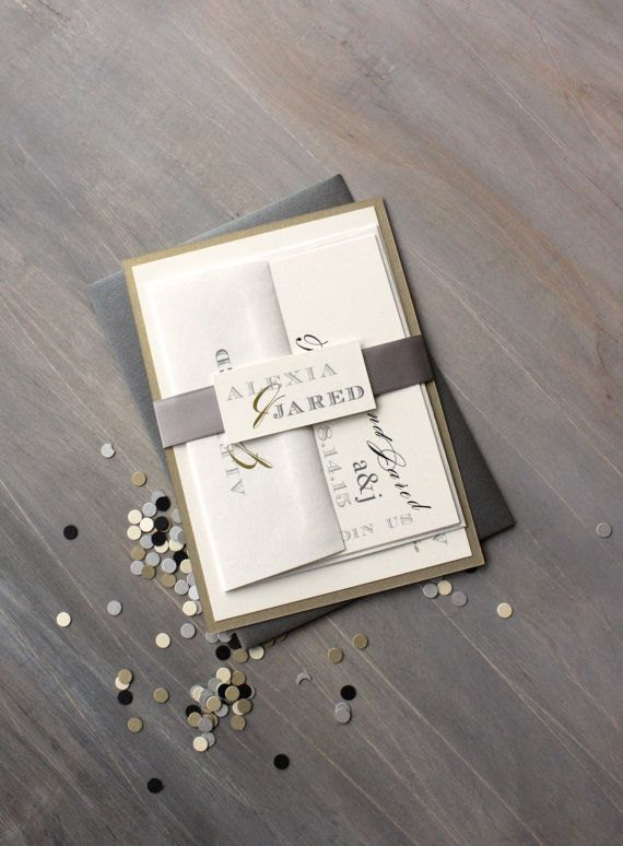 "Mariage - Industrial Wedding Invitations, Modern Wedding Invitations, Elegant Script Wedding Invitations - ""Black & White Love""  Sample"