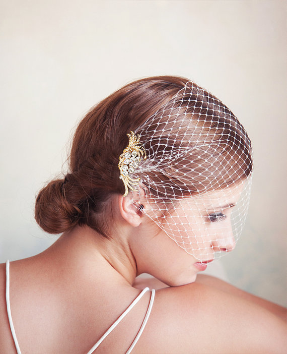 Mariage - Birdcage Veil and Gold Bridal Comb, Bandeau Birdcage Veil, Gold Blusher Bird Cage Veil, QUICK SHIPPER, Gold Rhinestone Comb with Bridal Veil