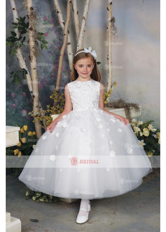 Свадьба - Ball Gown Scoop Ankle-Length Organza Sleeveless Flower Girl Dresses