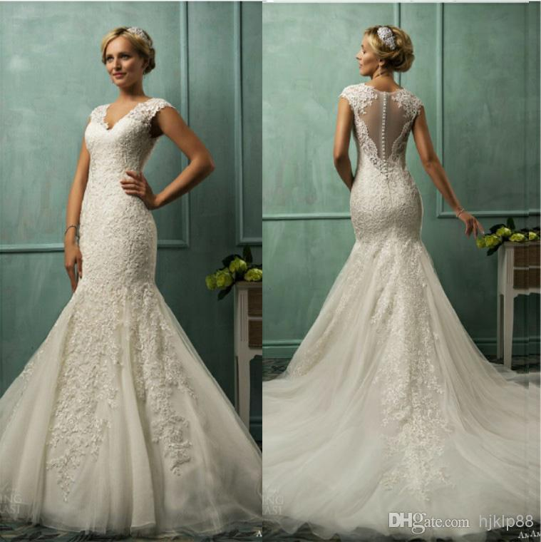 New Illusion Backless V Neck 2014 Mermaid Wedding Dresses Tulle Applique Pearls Sheer Chapel Train Dress Cap Sleeve Bridal Gowns Online With