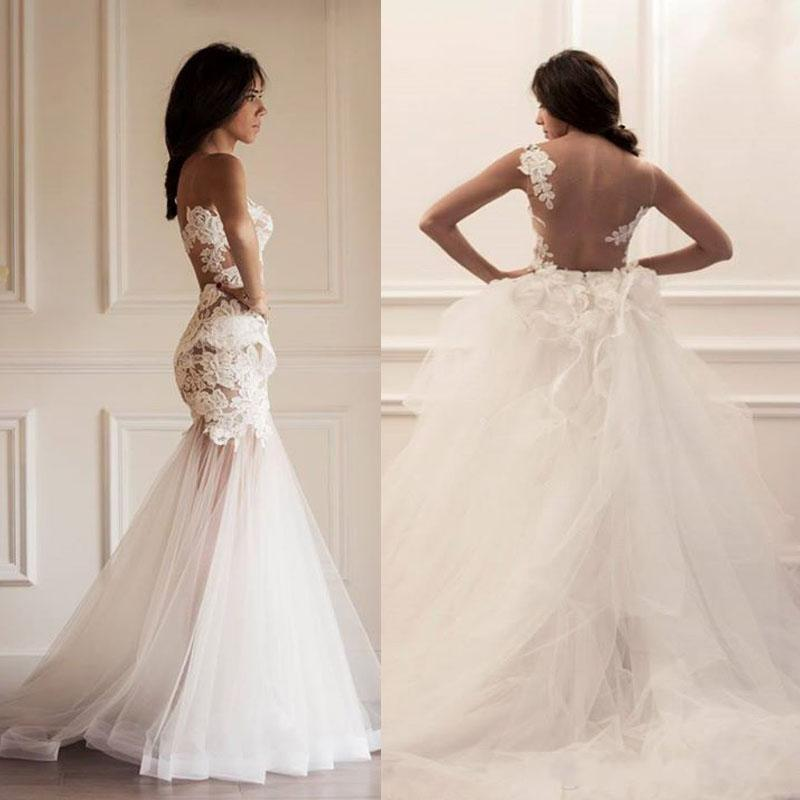Mermaid wedding dresses sheer bodice bateau neckline for Detachable train wedding dress