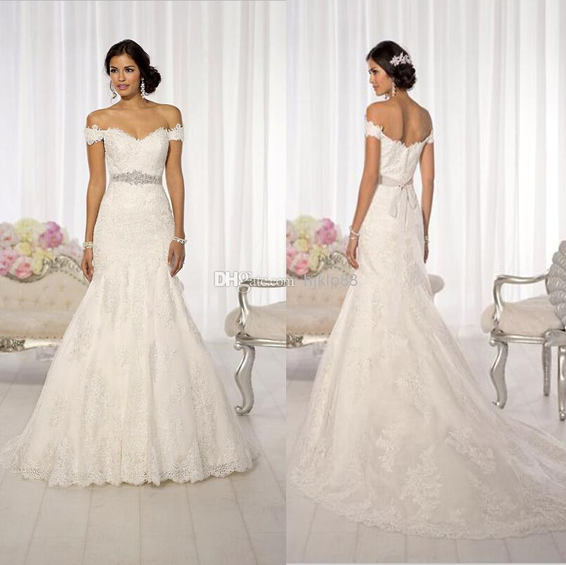 2014 new arrival sexy off shoulder lace mermaid wedding for Off shoulder wedding dress
