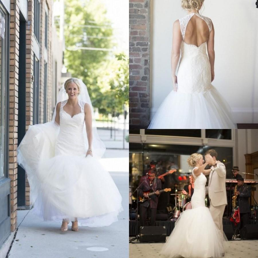 Low Back Mermaid Wedding Dress : Low back zipper appliques real image bridal gowns dress
