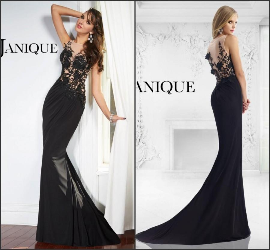 2015 Black Evening Dresses Mermaid Chiffon Sleeveless Janique Hot ...
