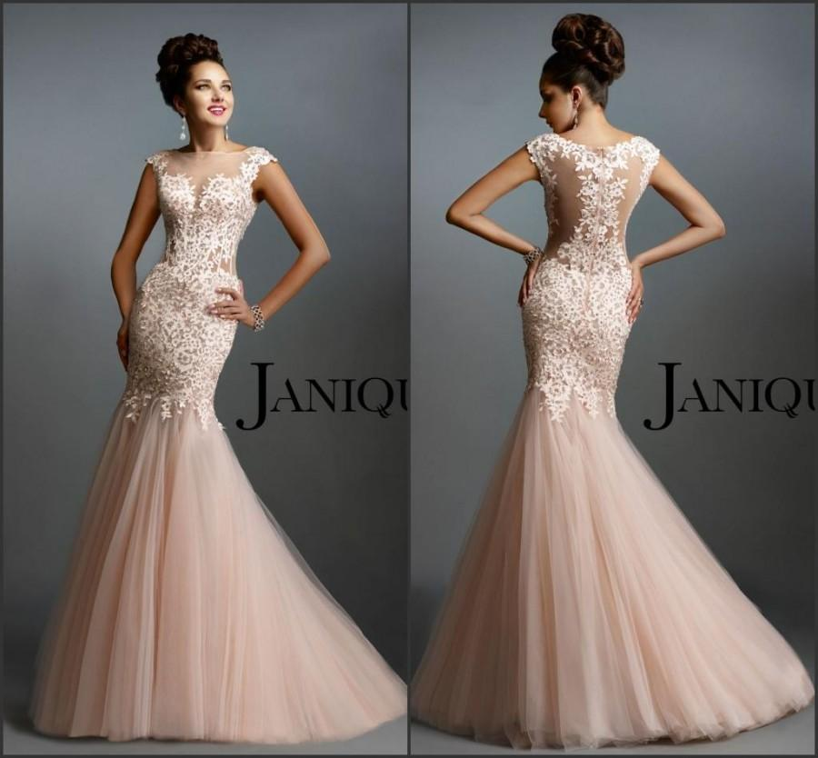 Hochzeit - Newest Janique Blush Evening Dresses Mermaid Applique Lace Sheer Neck Tulle Pink Sweep Train Pageant Sleeveless Prom Party Dresses Gowns, $117.72
